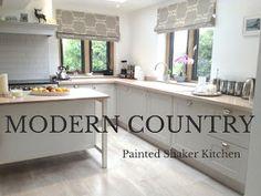 Painted shaker kitchen in Farrow & Ball Cornforth White. Country Kitchen. Modern country kitchen. Grey shaker kitchen.