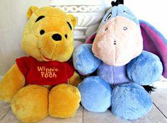 "Disney Winnie The Pooh Eeyore Plush Stuffed Animal Toy Lovely 11"" Lot of 2 #Disney"