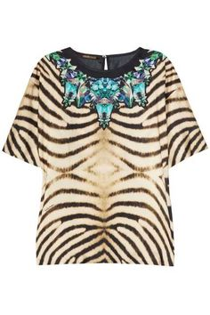 #RobertoCavalli graphic printed, faux bejeweled #zebra top