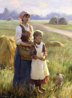 As Cores Da Arte: Gregory Frank Harris Paintings I Love, Beautiful Paintings, Oil Paintings, Illustration Art, Illustrations, Fine Art, Mother And Child, Country Life, Female Art