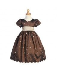 This adorable brown polka dot dress by Lito is the perfect special occasion dress for your infant, toddler or little girl!