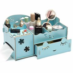 BAISPO Storage Box Make Up Organizer 3 Drawers Wooden Storage Box Admission Boxes Jewelry Stationery W-511