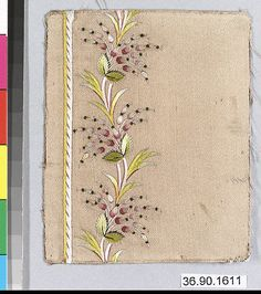 Sample Date: early 19th century Culture: French Medium: Silk on silk Dimensions: L. 4 x W. 3 1/4 inches 10.2 x 8.3 cm Classification: Textiles-Embroidered Credit Line: Gift of The United Piece Dye Works, 1936