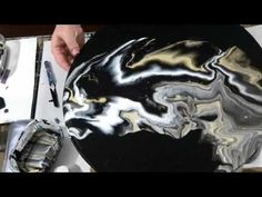 (60) Black, White and Gold Negative Space Acrylic Pour - YouTube