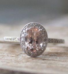 Oval Morganite Diamond Ring in 14K White Gold