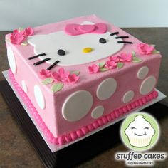 DIY Kitty Part fun easy cute pink white decorations girls hello kitty birthday party ideas - I can do this cake for Lauren. More buttercream than fondant though. Hello Kitty Torte, Bolo Da Hello Kitty, Hello Kitty Birthday Cake, Girl Birthday, Birthday Parties, Cake Birthday, Hello Kitty Cupcakes, Birthday Ideas, Anniversaire Hello Kitty