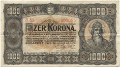 Banknote: Korona (Hungary) Issue - State Notes of the Ministry of Finance) Krishna Painting, Monet, Hungary, Budapest, City Photo, Vintage World Maps, Finance, Coins, History
