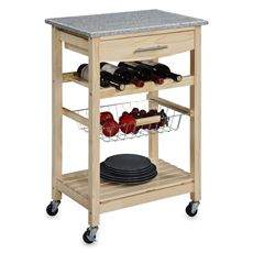 Linon Home Granite Rolling Kitchen Cart In Natural