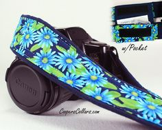 dSLR Camera Strap, Blue Asters, Aqua, Navy, Green, Floral.