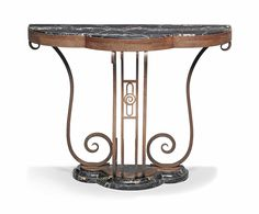 A FRENCH ART DECO WROUGHT-IRON AND PORTOR MARBLE CONSOLE TABLE -  CIRCA 1930