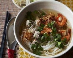 Phnom Penh Noodle Soup - pork stock, onion, bean sprouts, shallots, rice noodles, lime, prawns. #soup  #seafood #pork