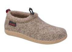 Vent lodge shoe in Earth - featuring a boiled wool upper, waterproof rubber outsole and a suede lined cork/latex footbed with arch support!