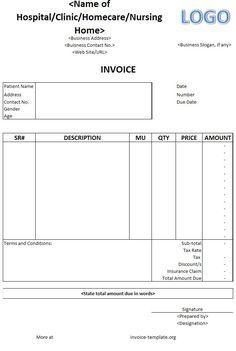Hospital invoice template