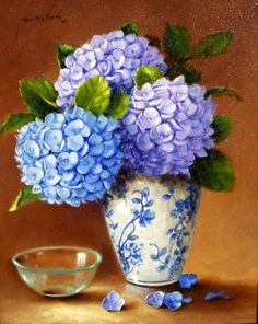 Hydrangea Flower Pictures, Flower Prints, Flower Art, Drawing Stencils, Canvas Wall Decor, Bird Drawings, Pottery Painting, Embroidery Art, Creative Art