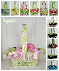 Personalized Fabric Lined Easter Basket  Lime by TheSassyGator, $33.95