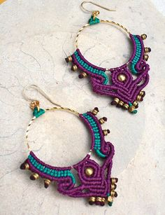big hoops earrings/ tribal earrings/ blue and by yasminsjewelry - JEWELRY Macrame Earrings, Macrame Bag, Tribal Earrings, Macrame Knots, Macrame Jewelry, Macrame Bracelets, Bead Earrings, Diy Jewelry, Loom Bracelets