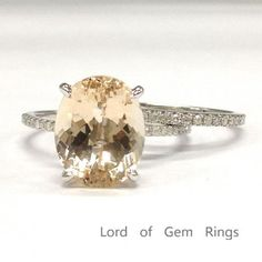 Oval Morganite Engagement Ring Sets Pave Diamond Wedding 14K White Gold 10x12mm - Lord of Gem Rings - 1