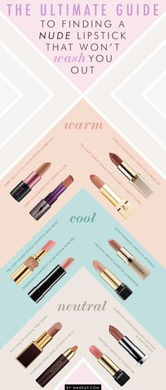 The visual guide on how to find the perfect nude lipstick for your skin tone! The visual guide on how to find the perfect nude lipstick for your skin tone! All Things Beauty, Beauty Make Up, Diy Beauty, Beauty Hacks, Beauty Skin, Lipgloss, Nude Lipstick, Lipstick Guide, Lipsticks