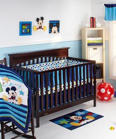 Look at this Mickey Mouse Deluxe Four-Piece Crib Bedding Set on #zulily today!