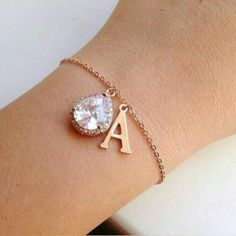 Items similar to Large Rose Gold Initial Bracelet - Rose Gold CZ Jewelry - Clear Crystal Bracelet - Bridal Jewelry - Bridesmaid Jewelry - Wedding Bracelet on Etsy Armband Rosegold, Gold Armband, Initial Earrings, Initial Bracelet, Initial Jewelry, Hand Jewelry, Rose Gold Jewelry, Jewellery, Crystal Bracelets