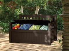Outside Storage Bench Box Deck Seat Porch Garden Resin Shed Yard. Want to turn your yard into a garden paradise? The 70-Gallon Eden Bench from Keter is a great place to start. At first glance, the Eden Bench looks like a clean, contemporary wood-style bench with comfortable seating for two adults. But hidden beneath is a large-capacity outdoor storage solution to keep your yard and garden supplies out of sight until needed.   Comfortable for two adults 700-Pound capacity Contoured back and…