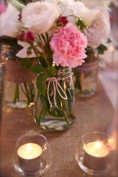 pink  hessian/burlap wedding theme