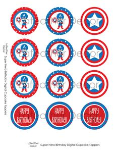 DIY Birthday Cupcake Toppers - Super Hero Captain America. $3.00, via Etsy.