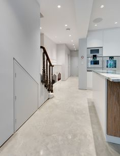 Concrete doesn't have to be grey. This Oyster White Lazenby Polished Concrete floor with its mottled appearance creates a beautiful feature within a beautifully designed kitchen. Polished Concrete Flooring, Smooth Concrete, Painted Concrete Floors, Stained Concrete, White Concrete, Concrete Furniture, Urban Furniture, Basement Flooring, Kitchen Flooring
