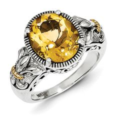 Sterling Silver and 14kt Gold 3.63 ct Citrine Ring