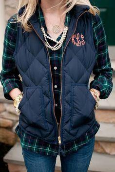 Plaid Shirt With Sleeveless Blue Jacket