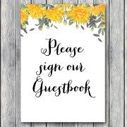 TH18-5×7-sign-guestbook-yellow-dandelion-wedding-bridal-shower-game
