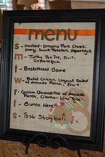 DIY: weekly menu board- what a cute way to help with meal planning.