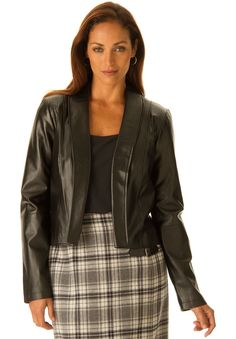 19ad7c6bcdb This chic cropped open  plussize leather shrug sports a tuxedo-style back  with slit