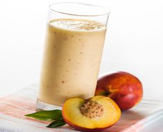 Peachy Smoothies ||   Cottage Cheese 1 1/2 cups frozen peach slices, slightly thawed 1 1/4 cups 2% milk 3 tablespoons brown sugar 1/4 teaspoon nutmeg