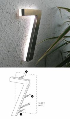 Modern Led House Number Outdoor By Luxello LED - modern - house numbers - Surrounding - Modern Lighting & Furniture Exterior Design, Interior And Exterior, Outdoor Lighting, Modern Lighting, Backyard Lighting, Custom Lighting, Led House Numbers, Kitchen Decorating, Decorating Ideas