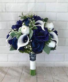Navy Wedding Flowers, Bridal Bouquet Blue, Calla Lily Bouquet, Prom Flowers, Bride Bouquets, Bridal Flowers, Silk Flowers, Bridesmaid Bouquets, Navy Bouquet