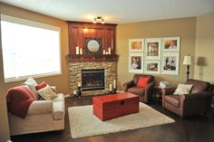 Pretty stone fireplace, you could integrate the top wood part with the television cabinet.