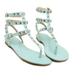 Mint Studded Gladiator Sandals