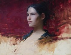 """""""Young Girl with Green and Red"""", oil on canvas, 16"""" x 20"""", by Jeremy Lipking"""