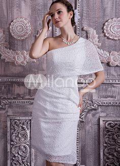 White Satin Lace Paillette One Shoulder A-line Wedding Dress - Milanoo.com