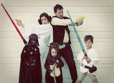 DIY Do It Yourself tutorial Star Wars Luke Skywalker, Wicket ewok, Han Solo, Princess Leia, and Darth Vader costumes. Great for family, group, theme, Disney costumes! Easy!