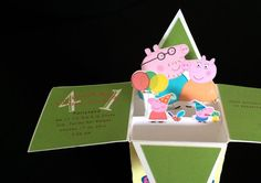 Peppa Pig pop up invitations by PartiesbyCindy on Etsy
