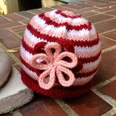 Pink and White Striped Flower Hat for Baby or Child. $28.00, via Etsy.