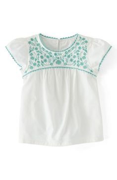 Mini Boden Embroidered Folk Top (Toddler Girls, Little Girls & Big Girls) | Nordstrom