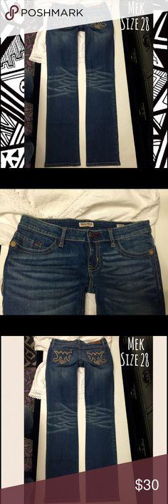 "MEK denim jeans Carlson straight size 28 Inseam:34🐝size:28 X 34🐝rise:8""🐝waist flat across top:16""🐝unworn/unwashed like new excellent condition🐝 MEK Jeans Straight Leg"