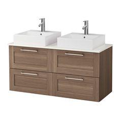 4.390.- NOK ------IKEA - GODMORGON/ALDERN / TÖRNVIKEN, Skap m benkeplate t 45x45 servant, hvit, valnøttmønstr,