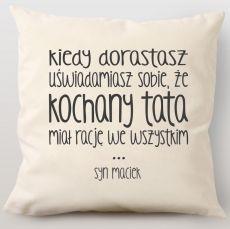 Poduszka personalizowana KOCHANY TATA idealny na urodziny