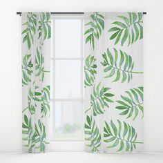 Watercolor Tropical Palm Leaf Pattern Curtains | Watercolor Curtains | Watercolor Palms | Palm Pattern | Tropical Home Decor | Coastal Home Decor | Beach Home | Beach Decor | Beach House | Beach Nursery