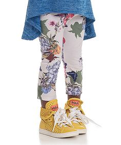 Persnickety Clothing White Floral Lisel Capri Leggings - Infant, Kids & Tween | zulily