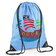 This swashbuckling children's blue pirate PE bag is perfect for storing your child's PE kit or swimwear for school and extra-curricular activities.